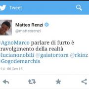 Tweet di Matteo Renzi sbagliato