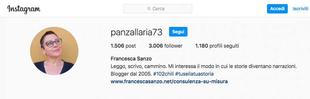 bio di instagram f.sanzo